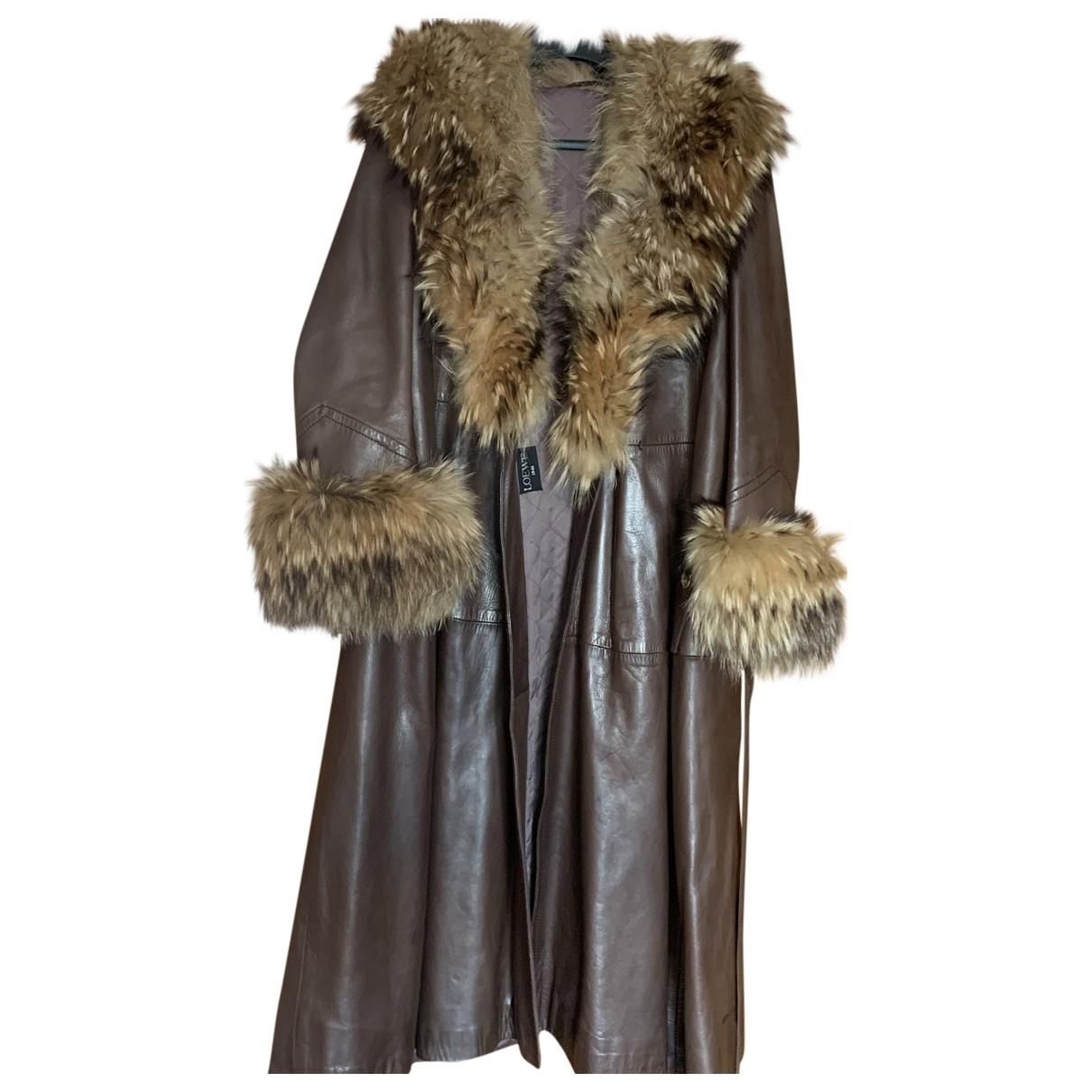 Loewe - Manteau   pour femme en cuir - marron