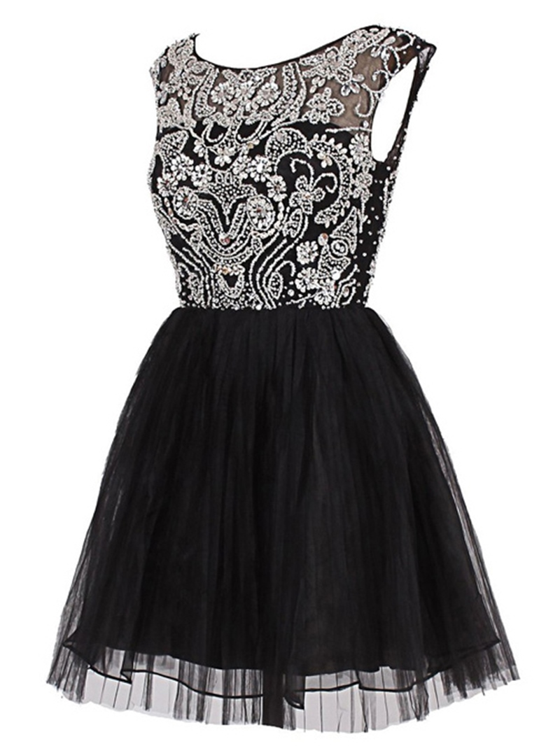 Ericdress A-Line Scoop Beading Crystal Mini Cocktail Dress
