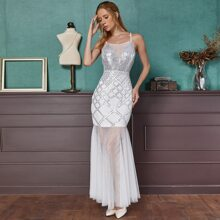 Angel-Fashions Contrast Mesh Mermaid Hem Sequin Prom Dress