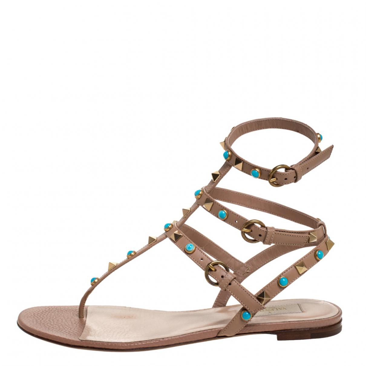 Valentino Garavani \N Beige Leather Sandals for Women 8 US