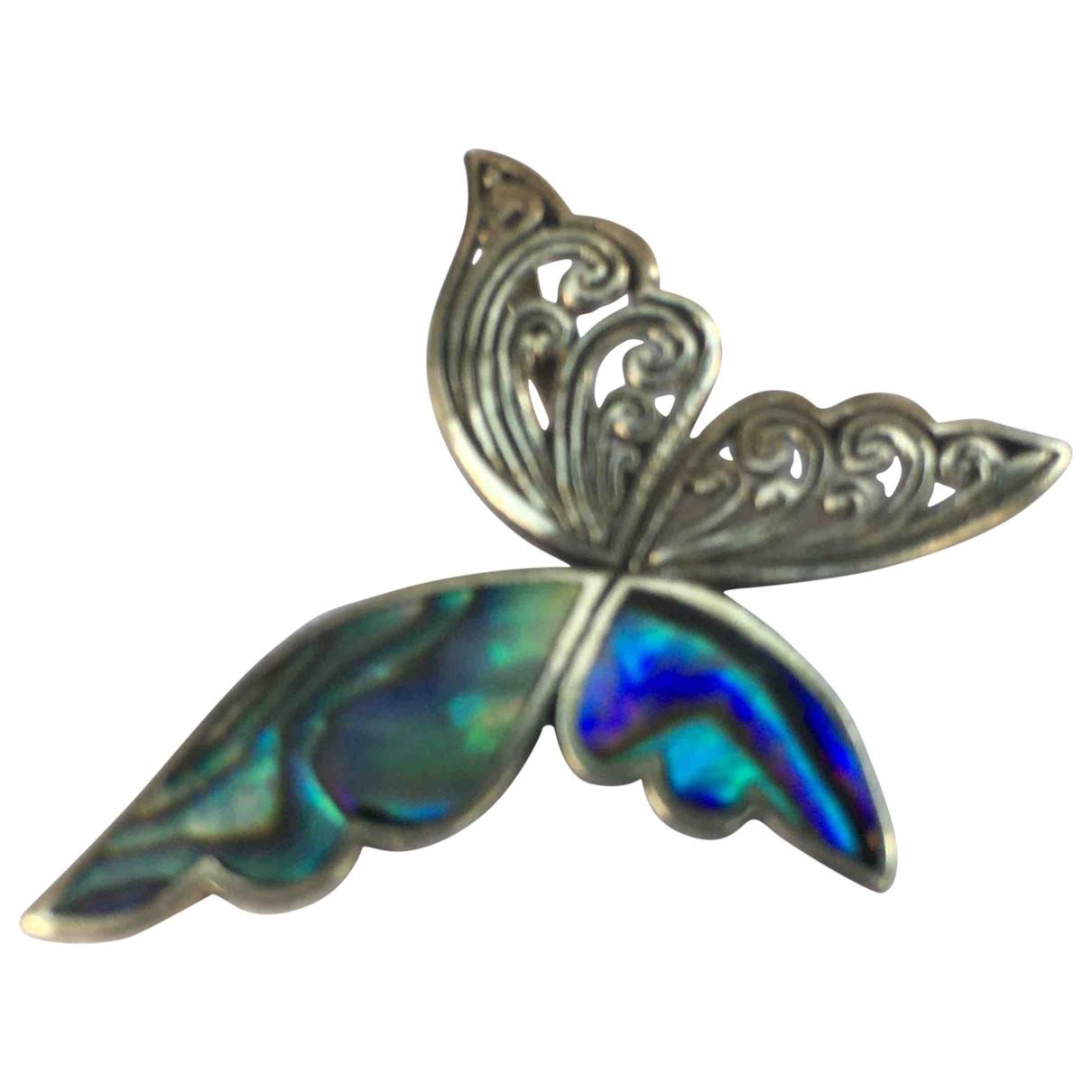 Non Signe / Unsigned Motifs Animaliers Anhaenger in  Blau Silber