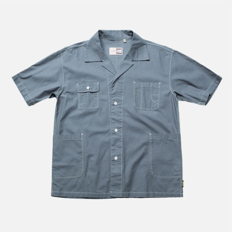 Men Multi Pockets Solid Color Turn-down Collar Vintage Shirt