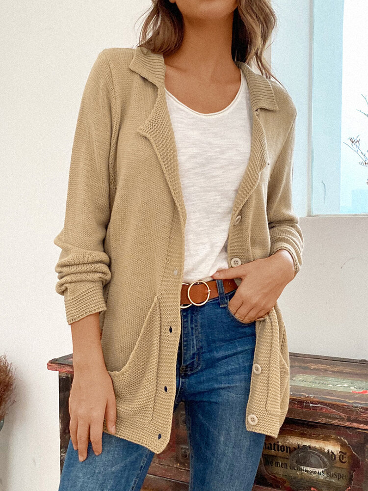 Solid Color Lapel Collar Long Sleeve Pocket Button Cardigan