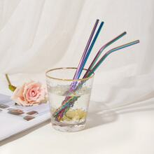 Stainless Steel Straw 4pcs & Cleaning Brush & Punch Bag