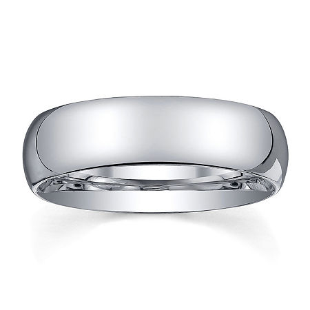 6mm Silver Domed Mens Wedding Ring, 14 , No Color Family