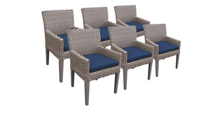 Florence Collection FLORENCE-TKC297b-DC-3x-C-NAVY 6 Dining Chairs With Arms - Grey and Navy