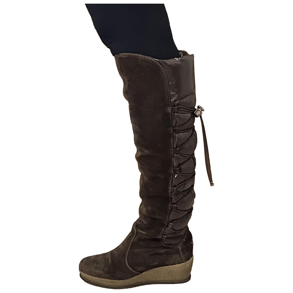 Moncler - Bottes   pour femme en cuir - marron
