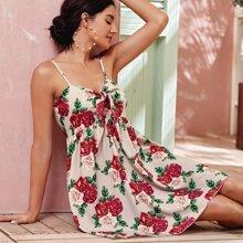 Tie Front Floral Print Cami Dress