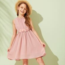 Girls Frill 3D Appliques Detail Gathered Dress