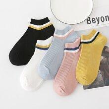 5 Paare Sockchen mit Streifen Muster