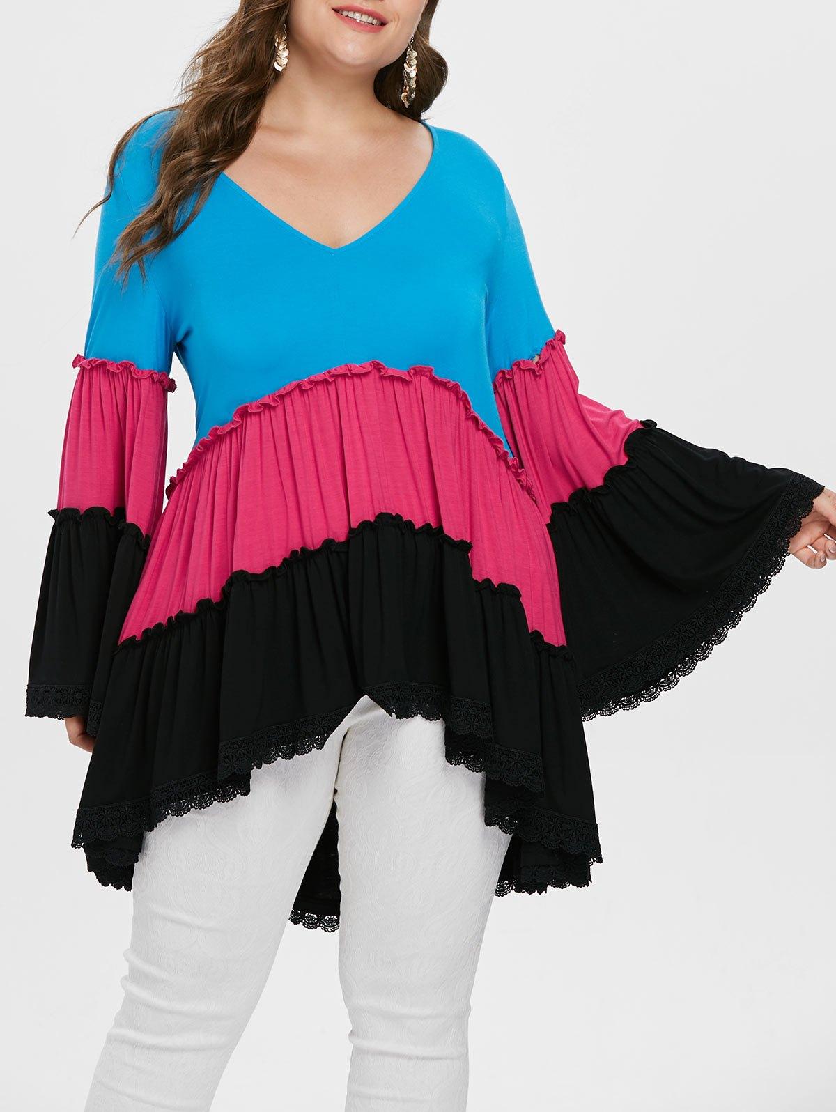 Color Block Plus Size Lace Hem T-shirt