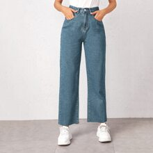 Bleach Wash High-Rise Baggy Jeans
