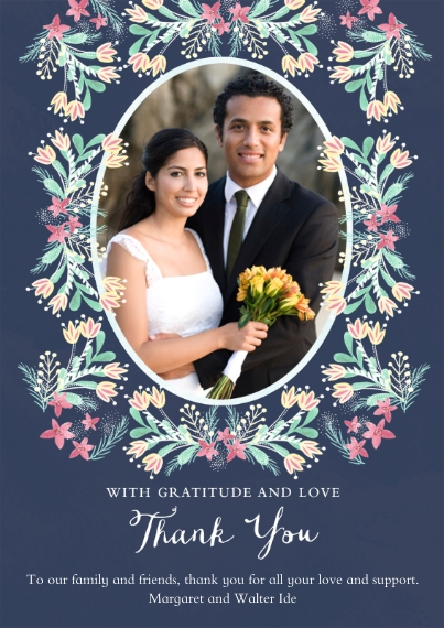 Wedding Thank You Flat Matte Photo Paper Cards with Envelopes, 5x7, Card & Stationery -Folk-art Floral
