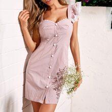 Kleid mit Spitzenbesatz, Ruesche und Knopfen vorn