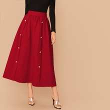 Wide Waistband Double Breasted Skirt
