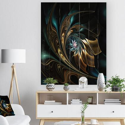 WD12104-36-46 Brown Blue Fractal Flower In Black - Abstract Print On Natural Pine Wood -