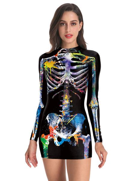 Milanoo Women\'s HalloweenCostumes Black Stretch Dress Polyester Bodycon Holidays Costumes