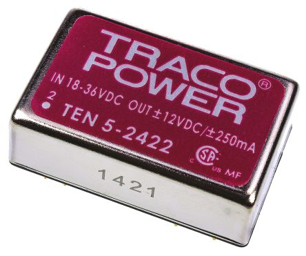 TRACOPOWER TEN 5 6W Isolated DC-DC Converter Through Hole, Voltage in 18 → 36 V dc, Voltage out ±12V dc