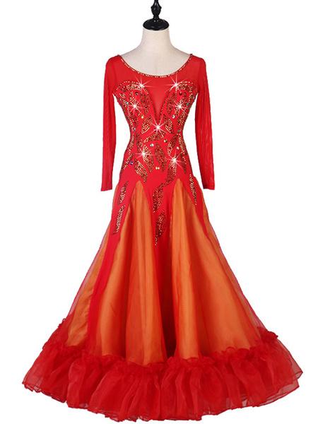 Milanoo Disfraz Halloween Baile de salon Disfraces Rhinestone rojo Volantes Mujer Licra Vestido de spandex Ropa de baile Halloween