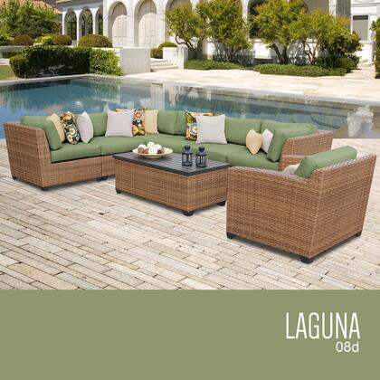 LAGUNA-08d-CILANTRO Laguna 8 Piece Outdoor Wicker Patio Furniture Set 08d with 2 Covers: Wheat and