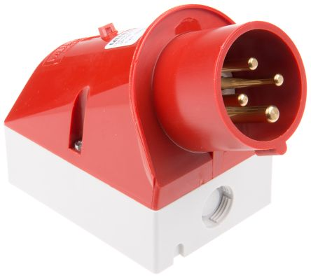MENNEKES IP44 Red Wall Mount 4P 25 ° Industrial Power Plug, Rated At 16.0A, 400 V