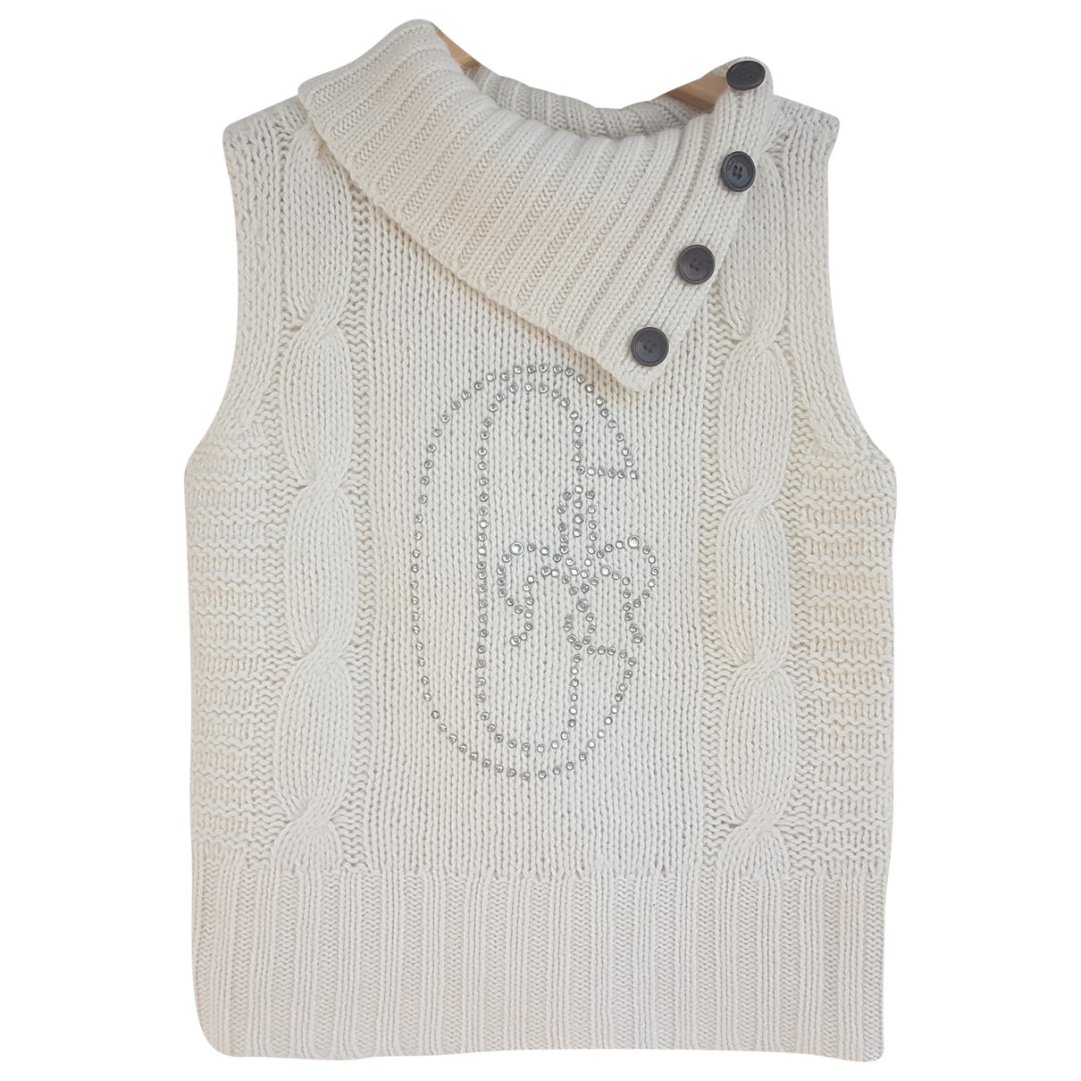 Non Signé / Unsigned N White Wool Knitwear for Women S International