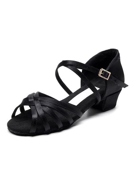 Milanoo Kids Latin Dance Shoes Girls Low Chunky Heel Ballroom Dance Sandals