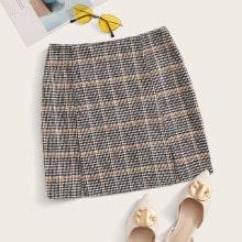 Zipper Fly M-slit Hem Tweed Skirt