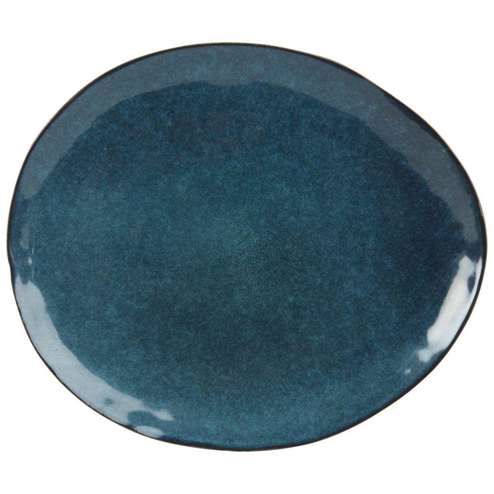 Flacher Teller aus Steinzeug, petrolblau