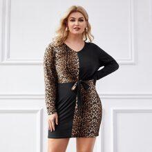 Plus Cut And Sew Cheetah Print Tie Front Dress