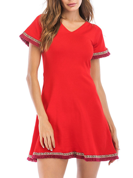 Milanoo Summer Dresses V Neck Red Sundress