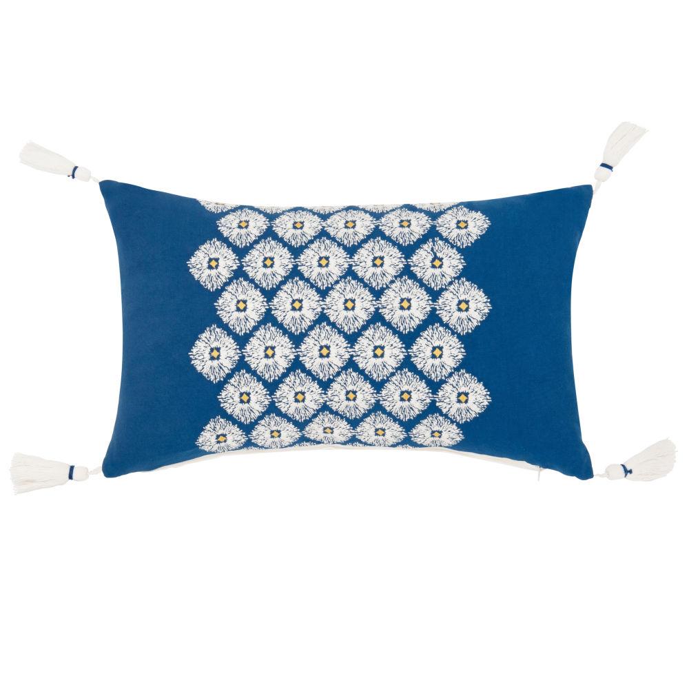 Kissenbezug aus Baumwolle mit Quasten, blau 30x50