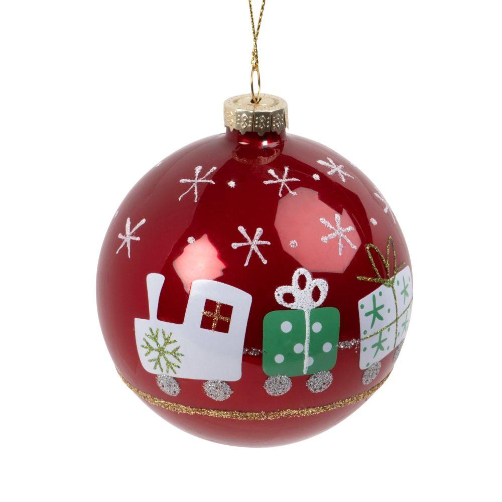 Weihnachtskugel aus Glas, rot mit Zug-Druckmotiv