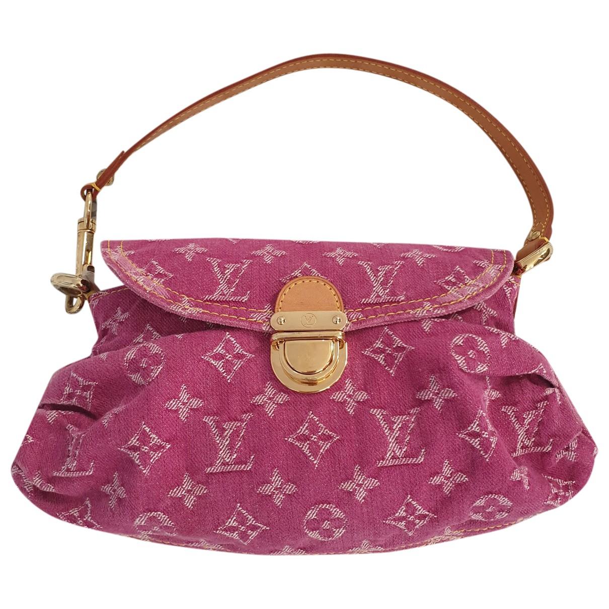 Louis Vuitton - Sac a main Pleaty pour femme en denim - rose