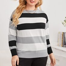Pullover mit Streifen Muster und sehr tief angesetzter Schulterpartie