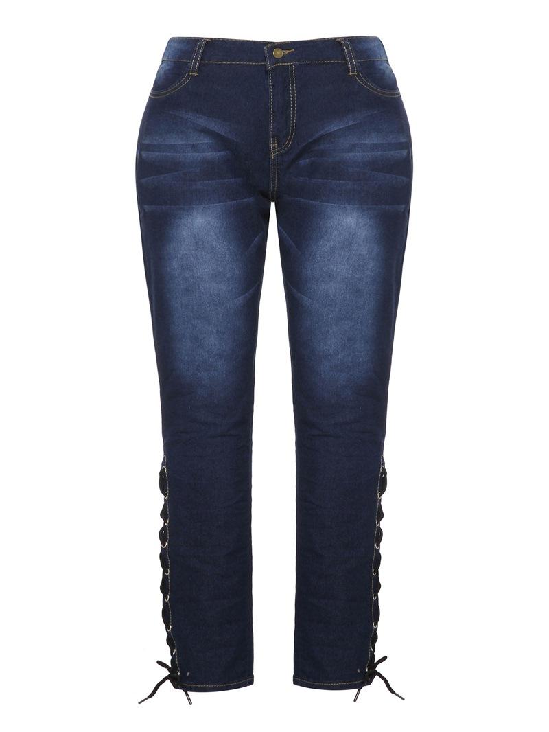 Ericdress Plus Size Lace-Up Pencil Pants Plain High Waist Skinny Jeans