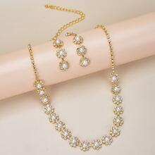 1 pieza collar con perla artificial y diamante de imitacion con 1 par pendientes