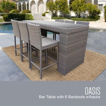 OASIS-BARTABLE-WITHBACK-6 Oasis 7 Piece Outdoor Wicker Patio Set with Bar Table and 6