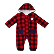 Baby Girl Gingham And Cartoon Graphic Hooded Jumpsuit