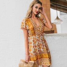 Kleid mit Flatteraermeln und Knopfen vorn