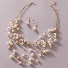 3pcs Faux Pearl Perlenkette & Ohrringe