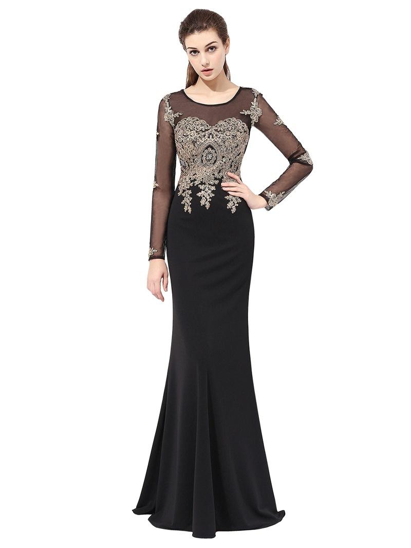 Ericdress Appliques Long Sleeve Mermaid Evening Dress