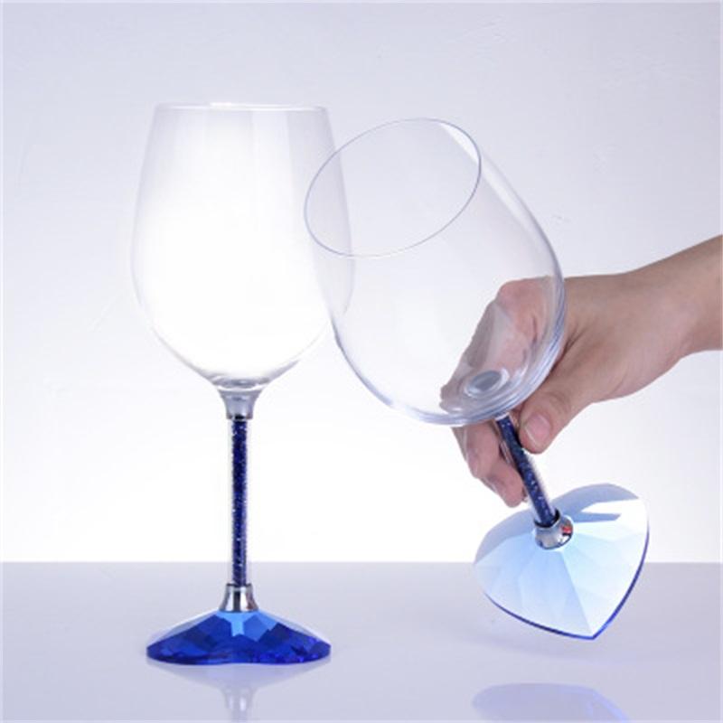 High Grade Heart-Shaped Wine Glass with Diamonds Romantic Wine Cups