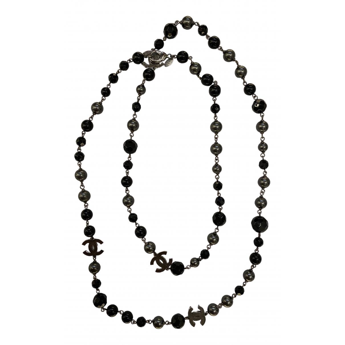 Chanel CC Kette in  Schwarz Perlen
