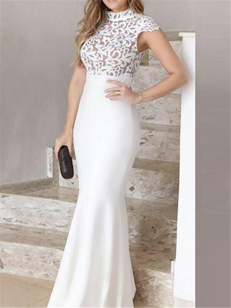 Ericdress Mermaid Cap Sleeves Floor-Length High Neck Evening Dress