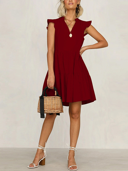 Yoins Ruffle Trim Pleated V-neck Sleeveless Dress