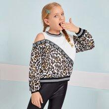 Girls Cold Shoulder Letter Tape Detail Leopard Spliced Pullover