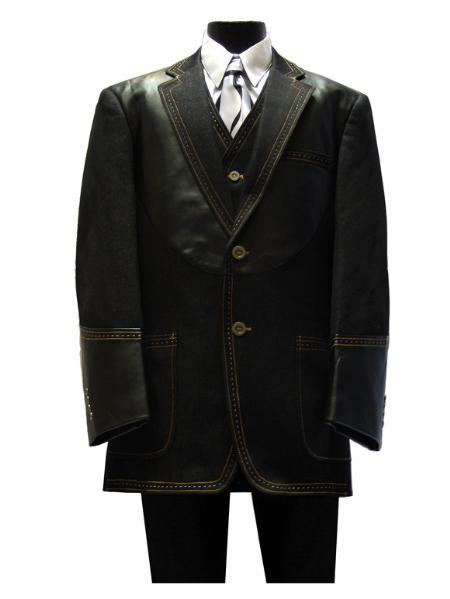 Mens 3 Piece 6 on 3 Gold Button Denim 3 Piece Suit Black