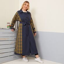 Plus Plaid Spliced Double Breasted Belted Trench Coat
