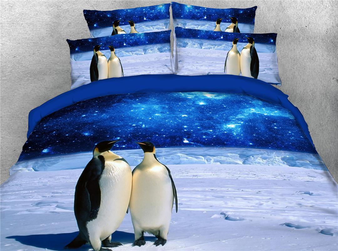 Antarctic Penguin Duvet Cover Set Four-Piece Set Polyester Bedding Sets Endurable Skin-friendly Duvet Cover Set